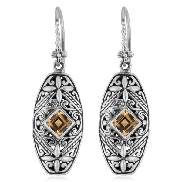 Sterling Silver Citrine 'Tropical Forest' Dangle Earrings (Indonesia)
