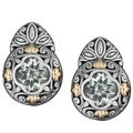 18k Gold and Sterling Silver Prasiolite Floral Cawi Earrings (Indonesia)