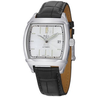 Ball Men's NM1068-LJ-WH 'Conductor Classic' Silver Dial Black Leather Strap Watch