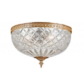 Richmond Olde Bronze Flush Mount Lamp with Lead Glass