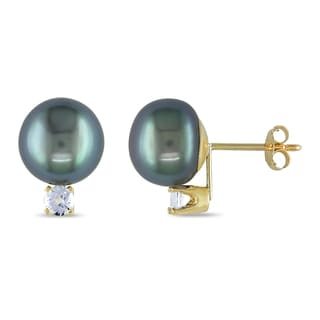 Miadora 10k Yellow Gold Pearl and White Topaz Stud Earrings (9-9.5 mm)