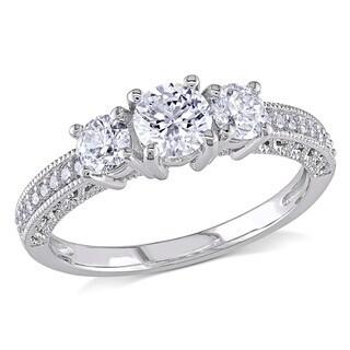 Miadora 14k White Gold 1ct TDW Diamond Three Stone Ring (G-H, I1-I2)