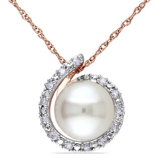 Miadora 10k Rose Gold Freshwater White Pearl and Diamond Accent Halo Necklace (8-8.5 mm)