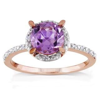 Miadora 10k Rose Gold 1 1/3ct TGW Amethyst and Diamond Ring