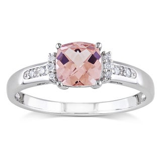Miadora 10k White Gold Morganite and Diamond Accent Ring