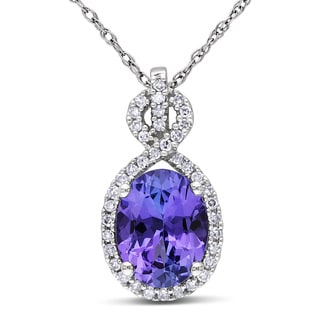Miadora 10k White Gold Tanzanite and 1/6ct TDW Diamond Necklace (G-H, I1-I2)