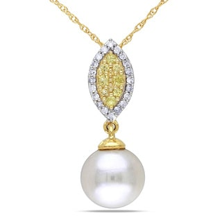 Miadora 10k Yellow Gold White Cultured Freshwater Pearl, Yellow Sapphire and 1/10ct TDW Diamond Necklace (H-I, I2-I3)