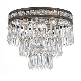 Crystorama Mercer English Bronze 3-light Flush-mount Chandelier