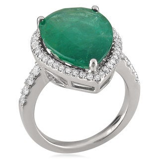 14k White Gold Pear-cut Emerald and 3/5ct TDW Diamond Cocktail Ring (G-H, SI1, SI2)