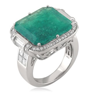 14k White Gold 11 1/6ct TGW Natural Emerald 1 3/8ct TDW Diamond Cocktail Ring (G-H, SI1-SI2)