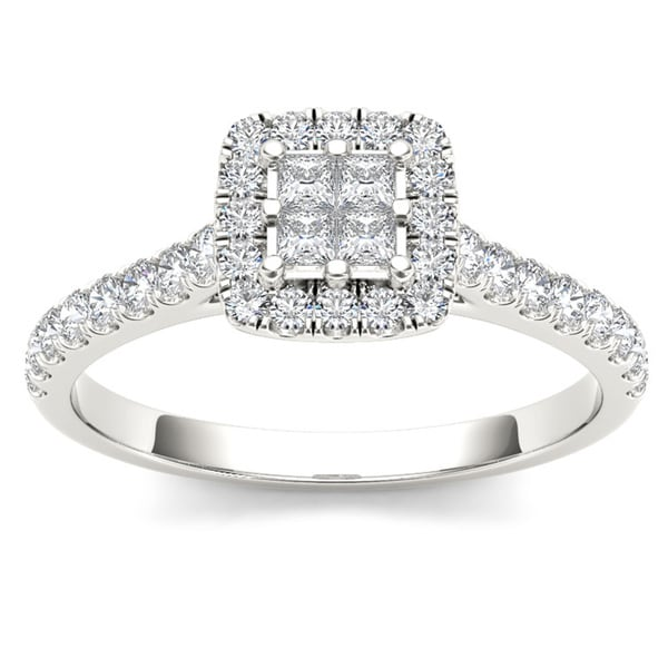 De Couer 10k White Gold 1 2ct TDW Diamond Multi Stone Engagement Ring H I I