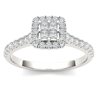 De Couer 10k White Gold 1/2ct TDW Diamond Multi Stone Engagement Ring (H-I, I2)