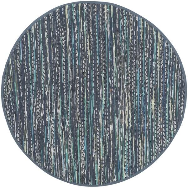 Safavieh Hand-woven Rag Rug Ink Cotton Rug (6' Round