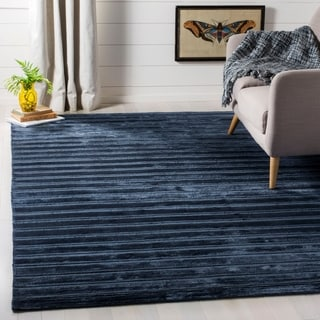 Safavieh Loom-knotted Mirage Navy/ Blue Viscose Rug (9' x 12')