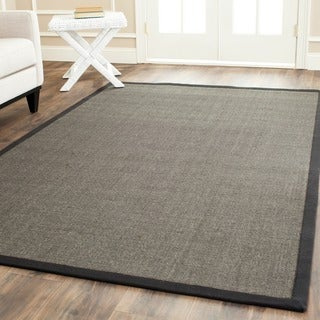 Safavieh Casual Natural Fiber Charcoal and Charcoal Border Sisal Rug (4' Square)