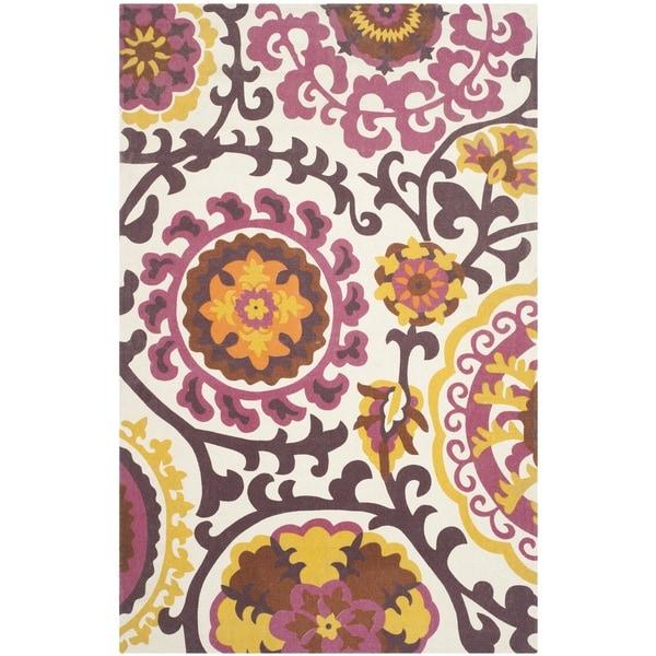 Safavieh Hand-loomed Cedar Brook Purple Cotton Rug (7'3 x 9'3)