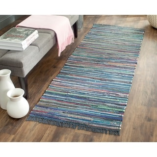 Safavieh Hand-woven Rag Rug Ink Cotton Rug (2'3 x 8')
