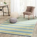 Isaac Mizrahi by Safavieh Beach Stripe Yellow/ Blue Wool Rug (5' x 8')