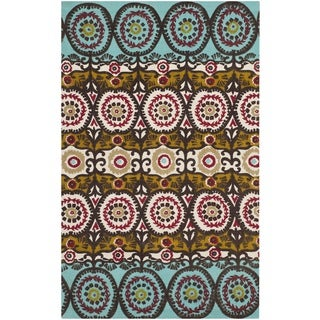 Safavieh Hand-loomed Cedar Brook Turquoise/ Burgundy Cotton Rug (2'3 x 3'9)