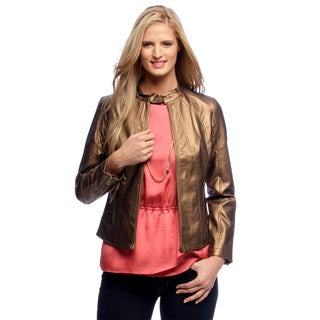 Women's Metallic Bronze Faux Leather Jacket