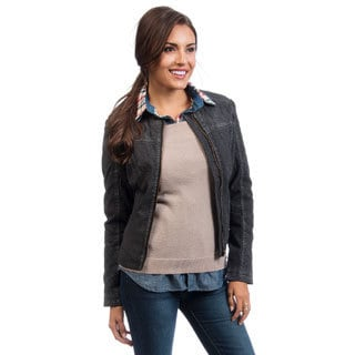 Women's Black Quilted Moto Jacket