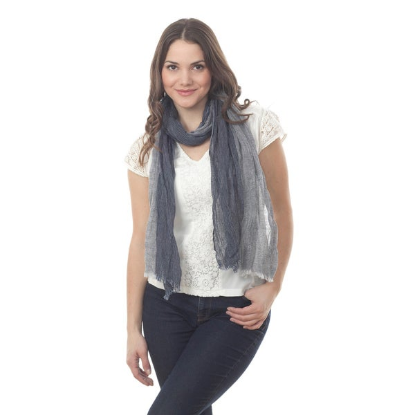 Navy Blue Linen Design Scarf