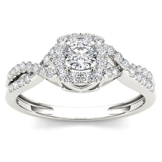 De Couer 10k White Gold 1/2ct TDW Diamond Cushion Halo Engagement Ring (H-I, I2)