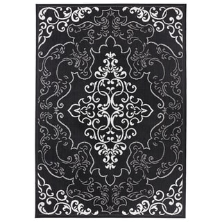 Modern Classic Black Indoor / Outdoor Polypropylene Rug (5 feet 3 inches x 7 feet 4 inches)