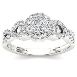 De Couer 10k White Gold 3/8ct TDW Diamond Cluster Halo Engagement Ring ( H-I, I2) with Bonus Necklace