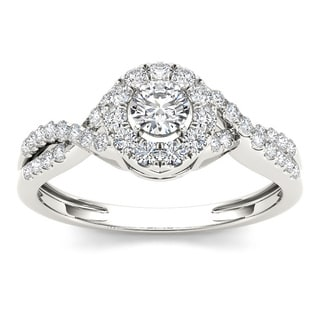 De Couer 10k White Gold 1/2ct TDW Diamond Single Halo Engagement Ring (H-I, I2)