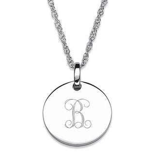 Sterling Silver Petite Engraved Initial Necklace