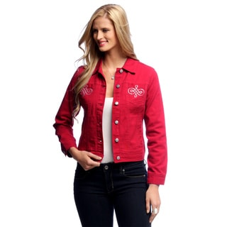 Women's Red Rhinestone Pocket Jean Jacket