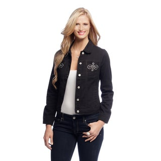 Women's Black Rhinestone Pocket Jean Jacket