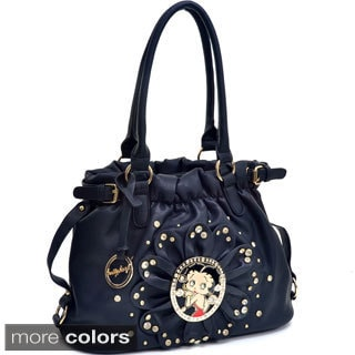 Betty Boop Rhinestone Studded Flat Bottom Hobo Bag