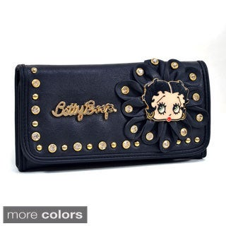 Betty Boop Rhinestone-studded Flower Design Tri-fold Wallet