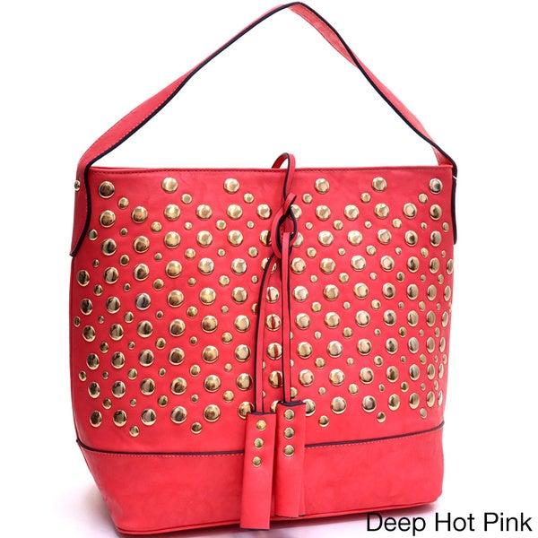 Tassel Droplet Studded Flat-bottom Tote Bag