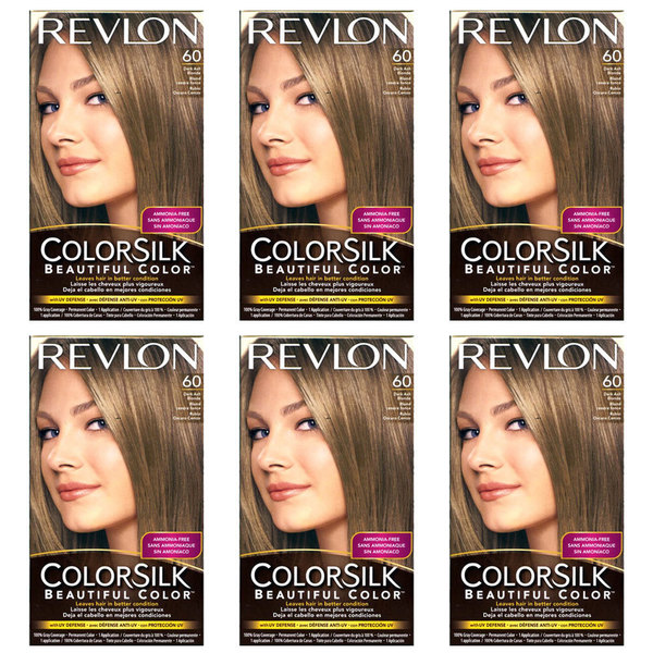 Revlon ColorSilk Dark Ash Blonde 60 Permanent Color (Packs of 6)
