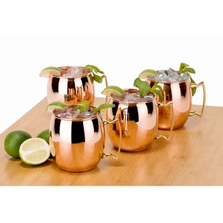 Unlacquered Unlined Solid Copper Moscow Mule 16-ounce Mugs (Set of 4)