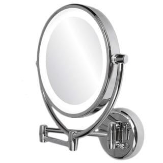 Ovente 1x/10x Wall Mount Mirror with Curling Iron