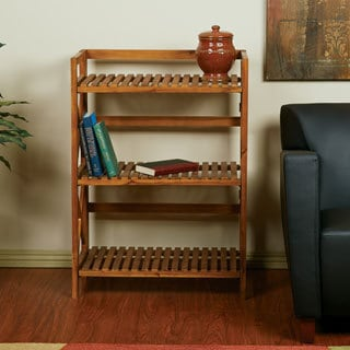Hayden Triple Tiered Cross-stroke Design Solid Wood Shelf Rack