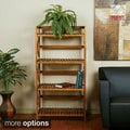 Hayden Four Tiered Cross-stroke Design Solid Wood Shelf Rack