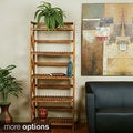 Hayden Five Tiered Cross-stroke Design Solid Wood Shelf Rack