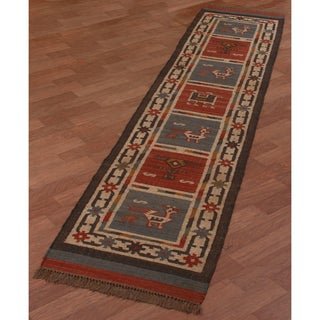 Hand-woven Tribal Wool & Jute Runner Rug (2'6 x 12')