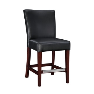 Powell Black Bonded Leather Bar Stool