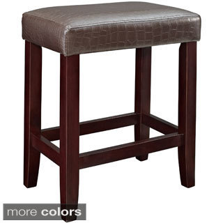 Black Croc Faux Leather Counter Stool