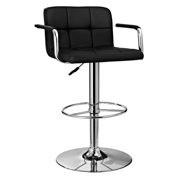 Powell Black and Chrome Quilted Bar Stool