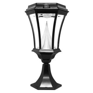 Gama Sonic GS-94P Victorian Solar Light with 9 Bright-White LEDs, Pier Base for Flat Mount, Black Finish