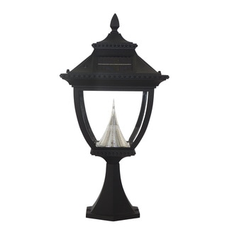 Gama Sonic GS-104P Pagoda Solar Light with 8 Bright-White LEDs, Pier Base for Flat Mount, Black Finish