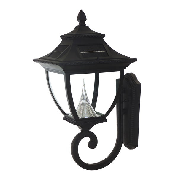 Gama Sonic GS-104W Pagoda Solar Light with 8 Bright-White LEDs, Wall Mount, Black Finish