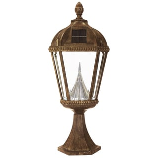Gama Sonic GS-98P Royal Solar Light with 7 Bright-White LEDs, Pier Base for Flat Mount, Weathered Bronze Finish